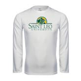 Performance White Longsleeve Shirt-Saint Leo University - Institutional Mark