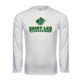 Performance White Longsleeve Shirt-Saint Leo University - Official Logo