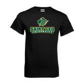 Black T Shirt-Saint Leo University - Official Logo Distressed