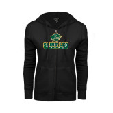 ENZA Ladies Black Fleece Full Zip Hoodie-Saint Leo Lions