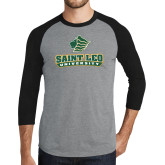 Grey/Black Tri Blend Baseball Raglan-Saint Leo University - Official Logo