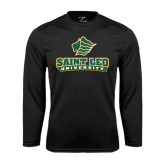 Syntrel Performance Black Longsleeve Shirt-Saint Leo University - Official Logo