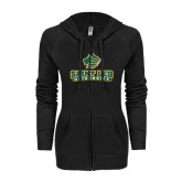 ENZA Ladies Black Light Weight Fleece Full Zip Hoodie-Saint Leo University - Official Logo