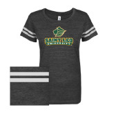 ENZA Ladies Black/White Vintage Triblend Football Tee-Saint Leo University - Official Logo