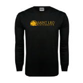 Black Long Sleeve TShirt-Saint Leo University - Institutional Mark Flat