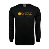 Black Long Sleeve TShirt-Saint Leo University - Institutional Mark Flat