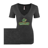Next Level Ladies Vintage Black Tri Blend V-Neck Tee-Saint Leo University - Official Logo