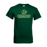 Dark Green T Shirt-Saint Leo University - Official Logo Distressed