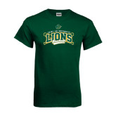Dark Green T Shirt-Baseball Crossed Bats Design