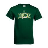 Dark Green T Shirt-Baseball Crossed Bats Design
