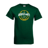 Dark Green T Shirt-Basketball Ball Design