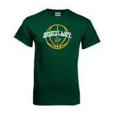 Dark Green T Shirt-Basketball Ball Design