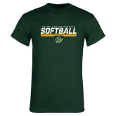 Dark Green T Shirt-Softball Script Design