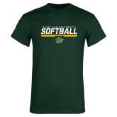 Dark Green T Shirt-Softball Script Design