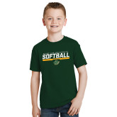 Youth Dark Green T Shirt-Softball Script Design