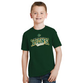 Youth Dark Green T Shirt-Baseball Crossed Bats Design