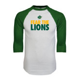 White/Dark Green Raglan Baseball T-Shirt-Fear The Lions