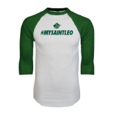 White/Dark Green Raglan Baseball T-Shirt-MySaintLeo
