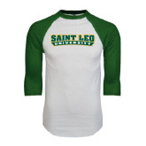 White/Dark Green Raglan Baseball T-Shirt-Saint Leo University
