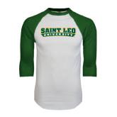 White/Dark Green Raglan Baseball T-Shirt-Saint Leo University