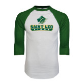 White/Dark Green Raglan Baseball T-Shirt-Saint Leo Lions