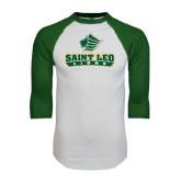 White/Dark Green Raglan Baseball T-Shirt-Saint Leo Lions