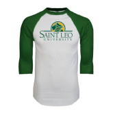 White/Dark Green Raglan Baseball T-Shirt-Saint Leo University - Institutional Mark
