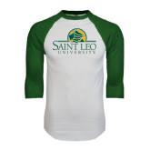 White/Dark Green Raglan Baseball T-Shirt-Saint Leo University - Institutional Mark