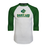 White/Dark Green Raglan Baseball T-Shirt-Basball