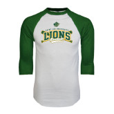 White/Dark Green Raglan Baseball T-Shirt-Baseball Crossed Bats Design
