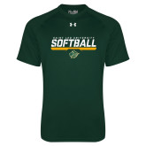 Under Armour Dark Green Tech Tee-Softball Script Design