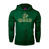 Dark Green Fleece Full Zip Hoodie-Saint Leo University - Official Logo