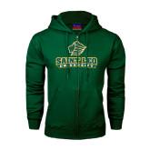 Dark Green Fleece Full Zip Hoodie-Saint Leo University - Official Logo