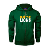 Dark Green Fleece Full Zip Hoodie-Fear The Lions