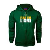 Dark Green Fleece Full Zip Hoodie-Fear The Lions