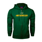 Dark Green Fleece Full Zip Hoodie-MySaintLeo