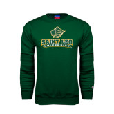 Dark Green Fleece Crew-Saint Leo University - Official Logo