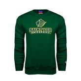 Dark Green Fleece Crew-Saint Leo University - Official Logo