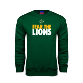 Dark Green Fleece Crew-Fear The Lions