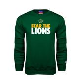 Dark Green Fleece Crew-Fear The Lions