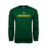 Dark Green Fleece Crew-MySaintLeo