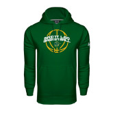 Under Armour Dark Green Performance Sweats Team Hoodie-Basketball Ball Design