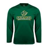 Performance Dark Green Longsleeve Shirt-Saint Leo University - Official Logo