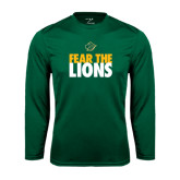 Performance Dark Green Longsleeve Shirt-Fear The Lions