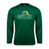 Performance Dark Green Longsleeve Shirt-Saint Leo University - Institutional Mark