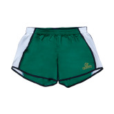 Ladies Dark Green/White Team Short-Saint Leo University - Official Logo