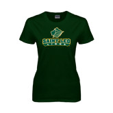 Ladies Dark Green T Shirt-Saint Leo Lions