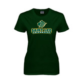 Ladies Dark Green T Shirt-Saint Leo University - Official Logo Distressed