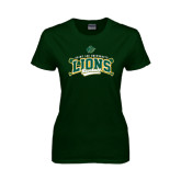 Ladies Dark Green T Shirt-Baseball Crossed Bats Design