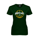 Ladies Dark Green T Shirt-Basketball Ball Design
